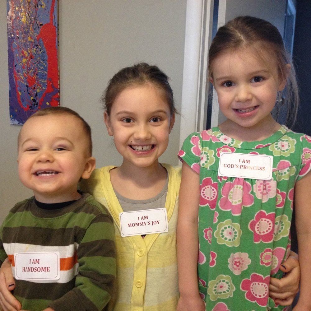 Kimberly's children wearing first Avery stickers