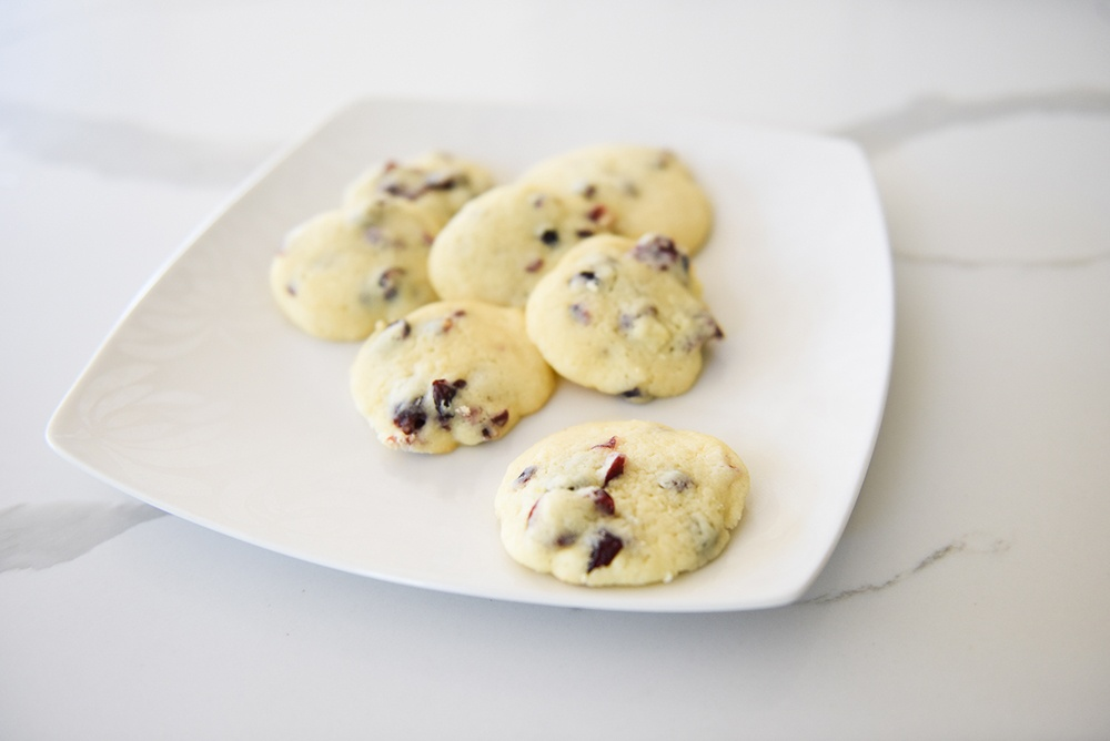 Lemon Cranberry Cookies on a plate