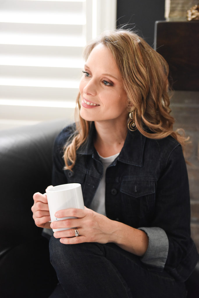 Kimberly with coffee mug - time to imagine