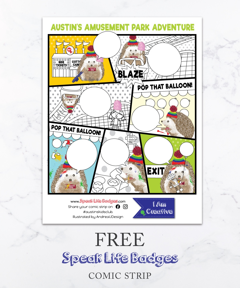 free speak life badges comic strip