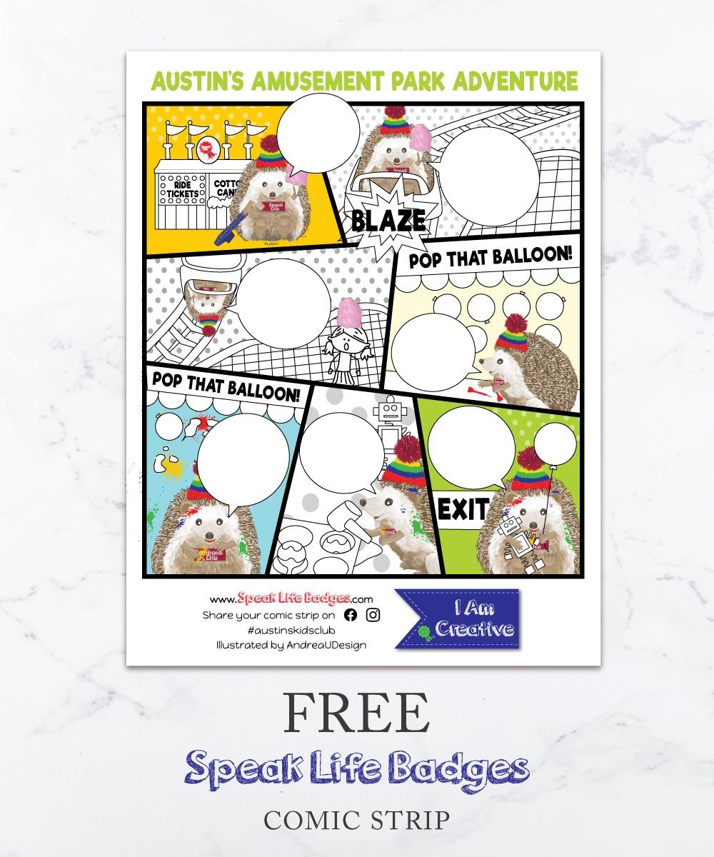 free speak life badges comic strip