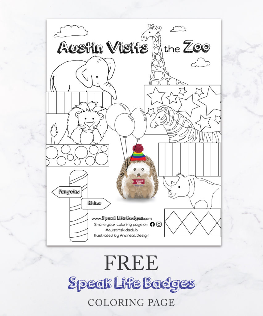 speak life badges zoo coloring page