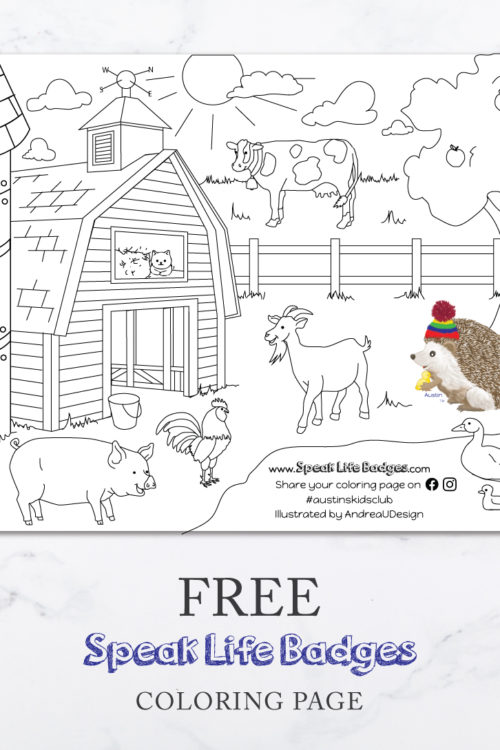 FREE Austin Visits the Farm Coloring Page